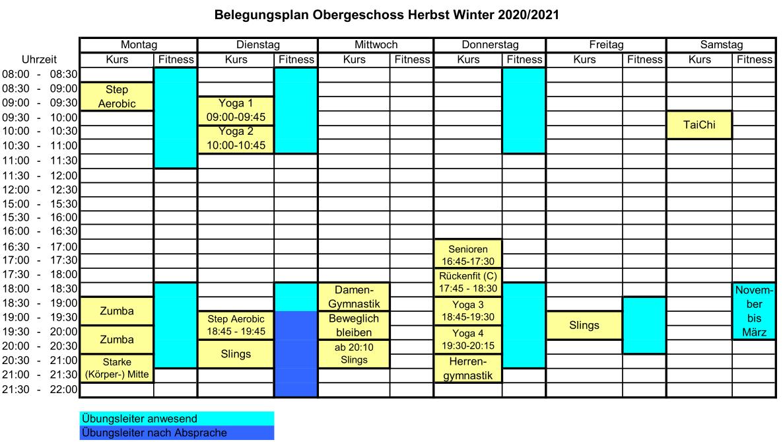 Belegungsplan Kursraum Herbst/Winter 2020